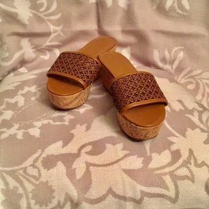 Tory Burch Fret Leather Platforms/Wedges NWOB